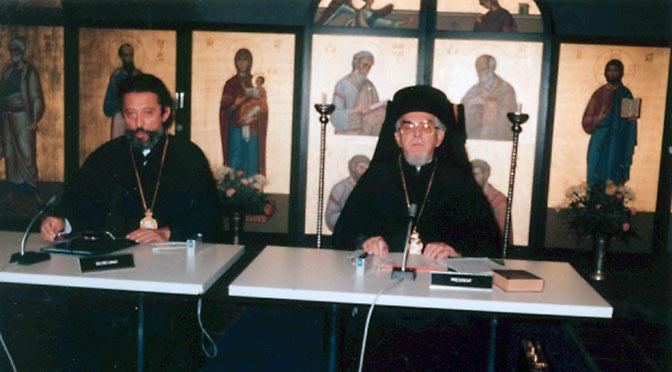 3- Предсоборное совещание в Шамбези. 1986 г. Митр. Дамаскин Швейцарский и митр. Хризостом Эфесский.