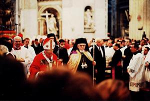 Митр. Хризостом Эфесский и папа Иоанн-Павел II. Рим, 29 июня 1999 г.